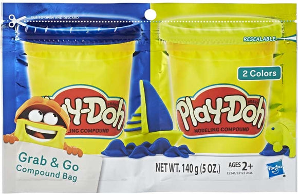 Play-Doh Grab N Go Compound Bag (Assorted Colours X2)