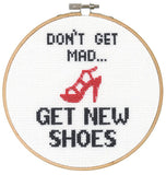 "Shoes Dimensions Counted Cross Stitch 6"" Hoop ""Say it!"" Series"