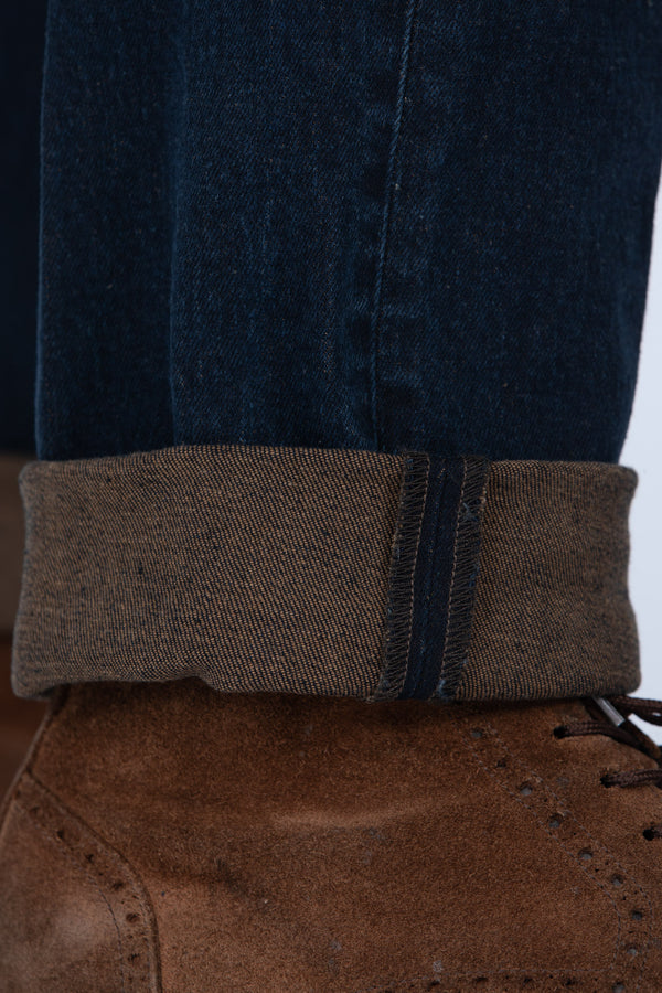 DENIM PLACATO BROWN - Barmas