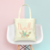 Floral Personalized Bridesmaid Brial Party Wedding Tote Bag