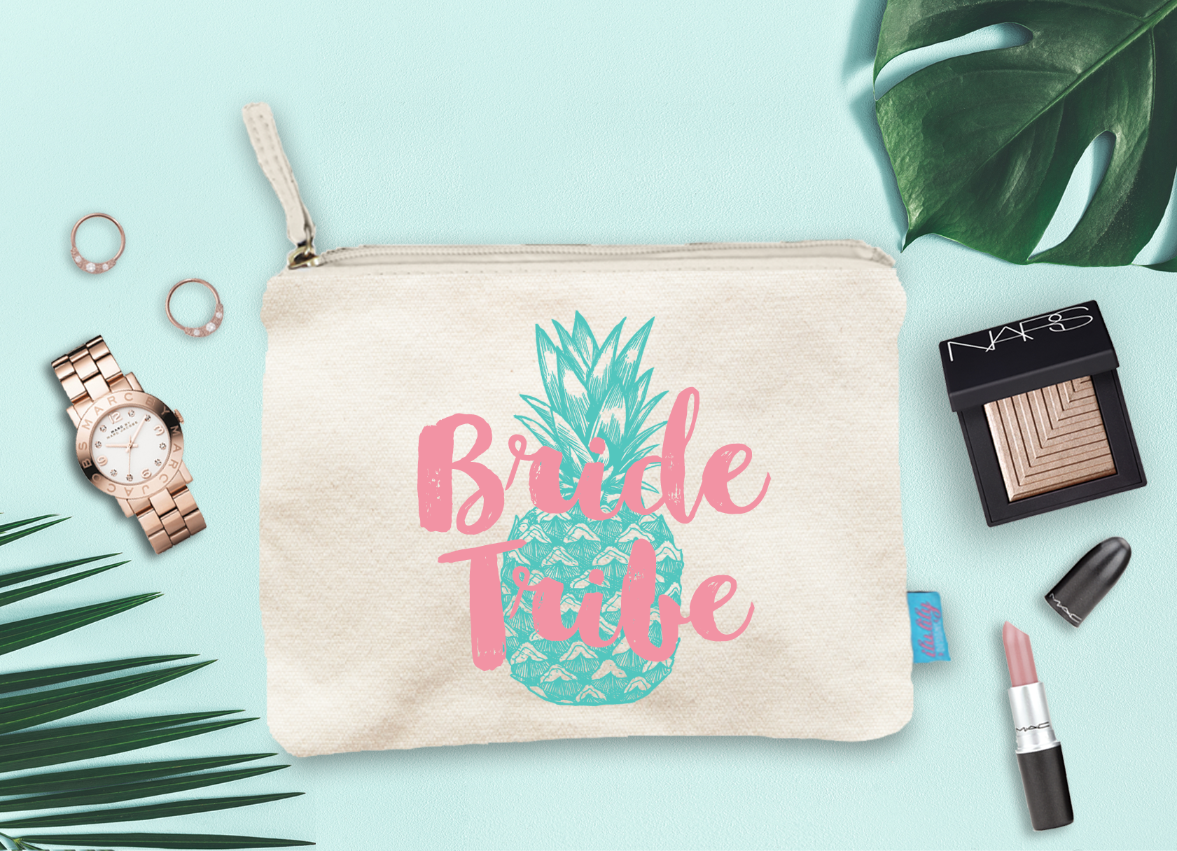 Bride Tribe Pineapple -Bridal Party Bachelorette Party Makeup Cosmetic Bag