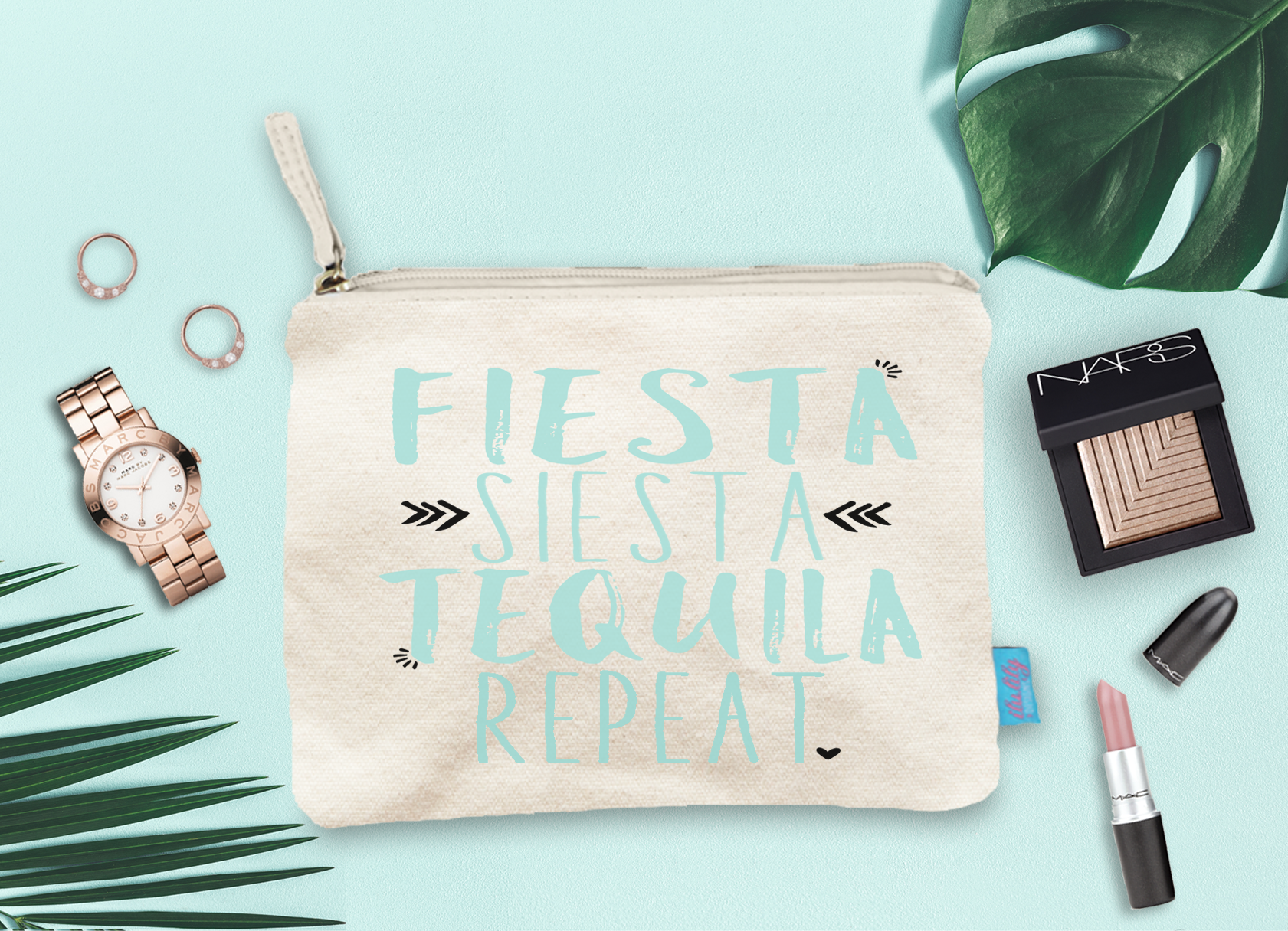 Fiesta Siesta Tequila Repeat Bachelorette Party Bridal Party Makeup Cosmetic Bag