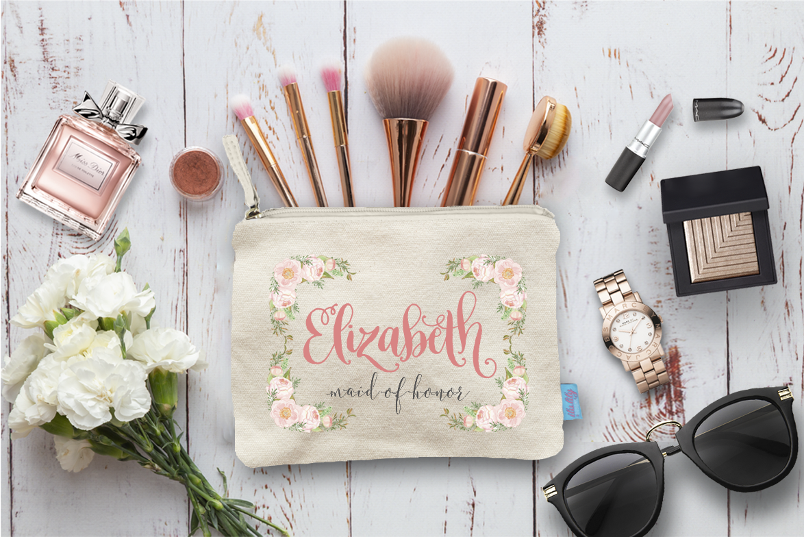 Floral Border Personalized Bridal Party Makeup Cosmetic Bag