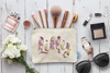 Floral Cutout Personalized Bridal Party Makeup Cosmetic Bag