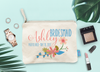 Floral Personalized Destination Wedding Bridal Party Makeup Cosmetic Bag