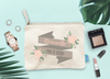 Personalized Bridal Party Floral Banner Makeup Cosmetic Bag
