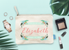 Personalized Floral Banner Bridal Party Makeup Cosmetic Bag