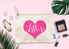 Personalized Heart Bridal Party Makeup Cosmetic Bag