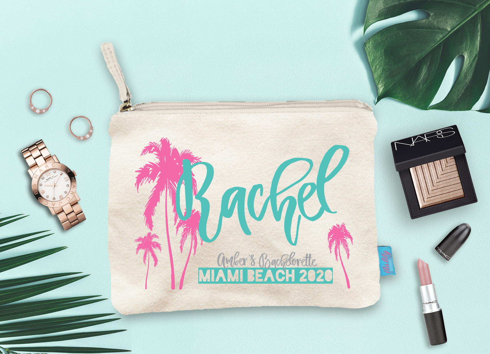 Miami Beach Bachelorette Party Palm Trees Personalized Makeup Cosmetic Bag