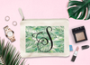 Palm Leaf Initial Bridal Party Makeup Cosmetic Bag