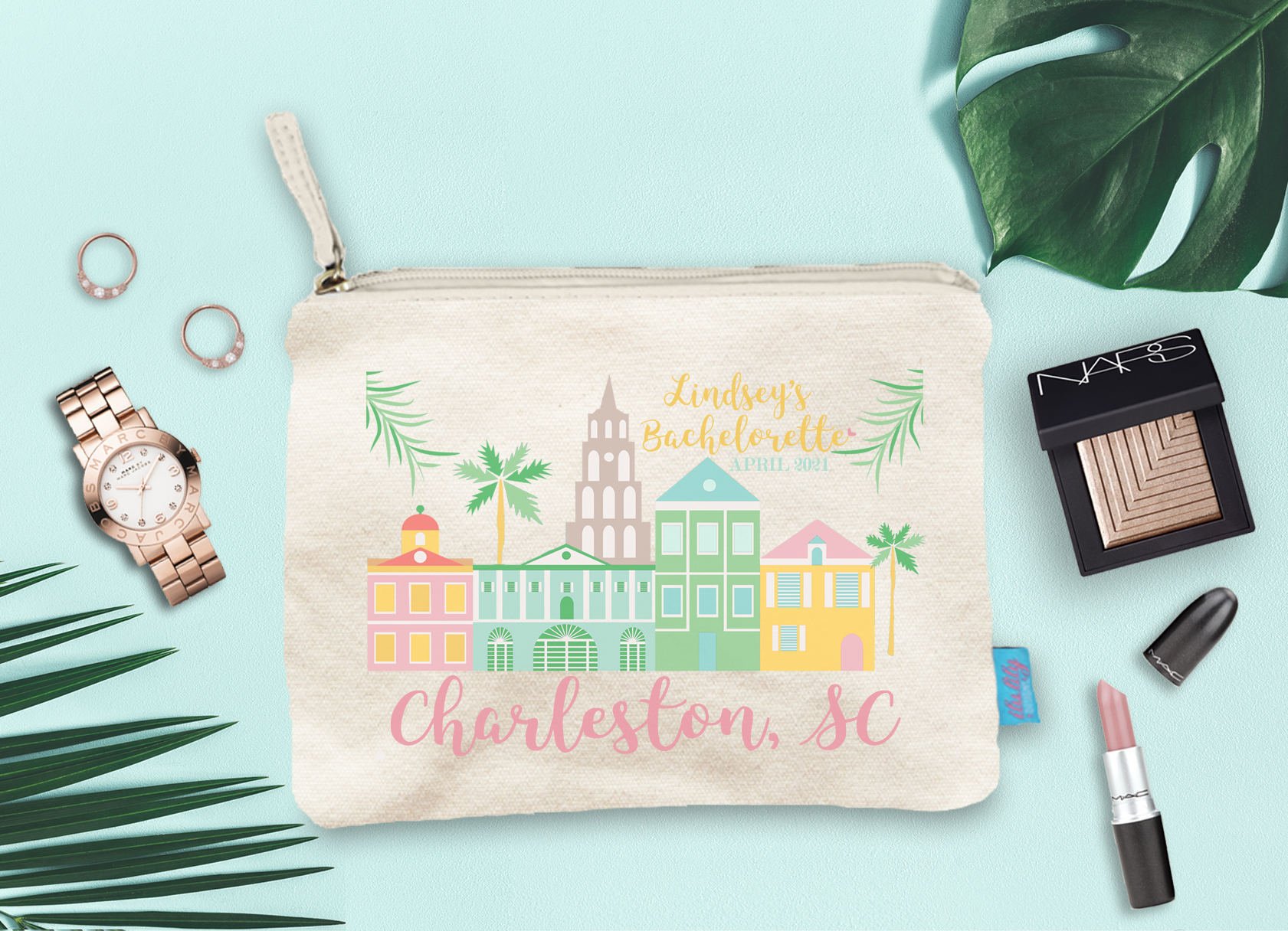 Charleston South Carolina Bachelorette Party Makeup Cosmetic Bag