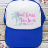 Good Times and Tan Lines Beach Bachelorette Party Trucker Hat