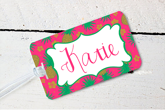 Pineapple Personalized Destination Wedding Bachelorette Luggage Tag