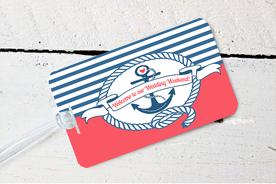 Nautical Anchor Destination Wedding Luggage Tag