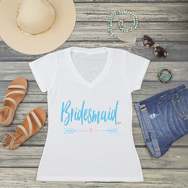 Bridesmaid V-Neck T-Shirt Fashion Tee