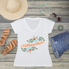 Bride to Be Floral Banner V-Neck T-Shirt Fashion Tee