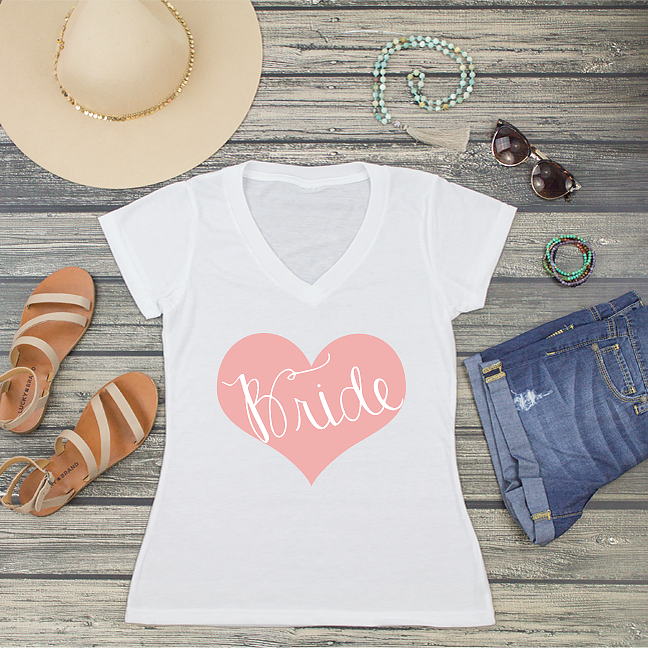 Bride Heart V-Neck T-Shirt Fashion Tee