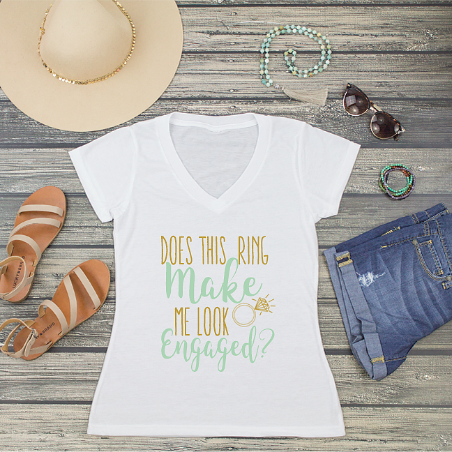 Does this Ring Make Me Look Engaged V-Neck T-Shirt