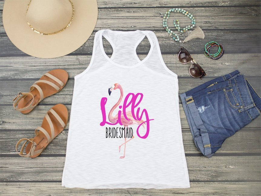 Flamingo Bridal Party Personalized Racerback Tank Top