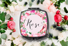 Floral Personalized Name Compact Mirror -Bridesmaid Bridal Party Mirror