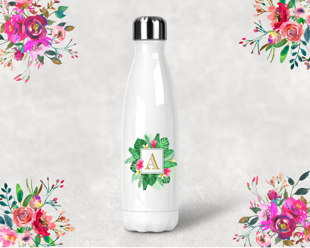 Floral Tropical Initial Bridal Party Water Bottle -Swell Style Water Bottle