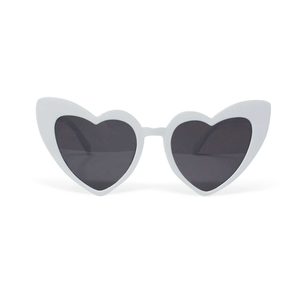 Retro Heart Shaped Sunglasses - White
