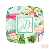 Flamingo Tropical Initial Compact Mirror -Bridesmaid Bridal Party Mirror