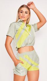 Yellow Striped Two Piece Playsuit Set