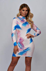 Abstract Print High Neck Bodycon Dress