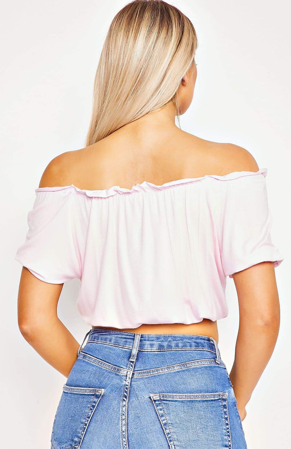 Baby Pink Bardot Frill Detail Crop Top