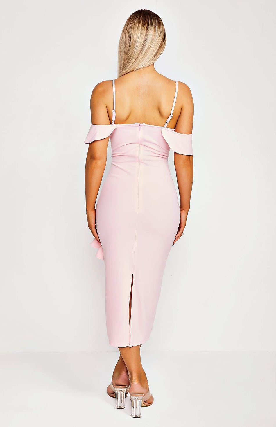 Baby Pink Frill Detail Shoulder Midi Dress