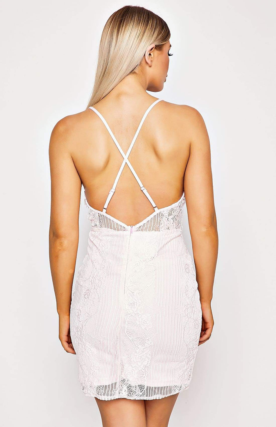 Baby Pink Lace Detail Cami Mini Dress