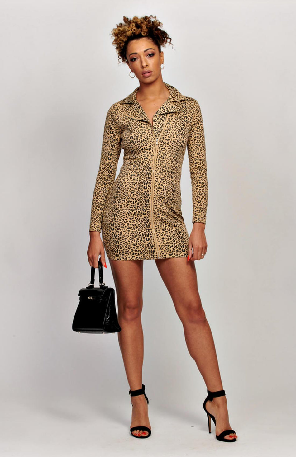 Leopard Print Zip Up Front Long Sleeve Biker Bodycon Dress
