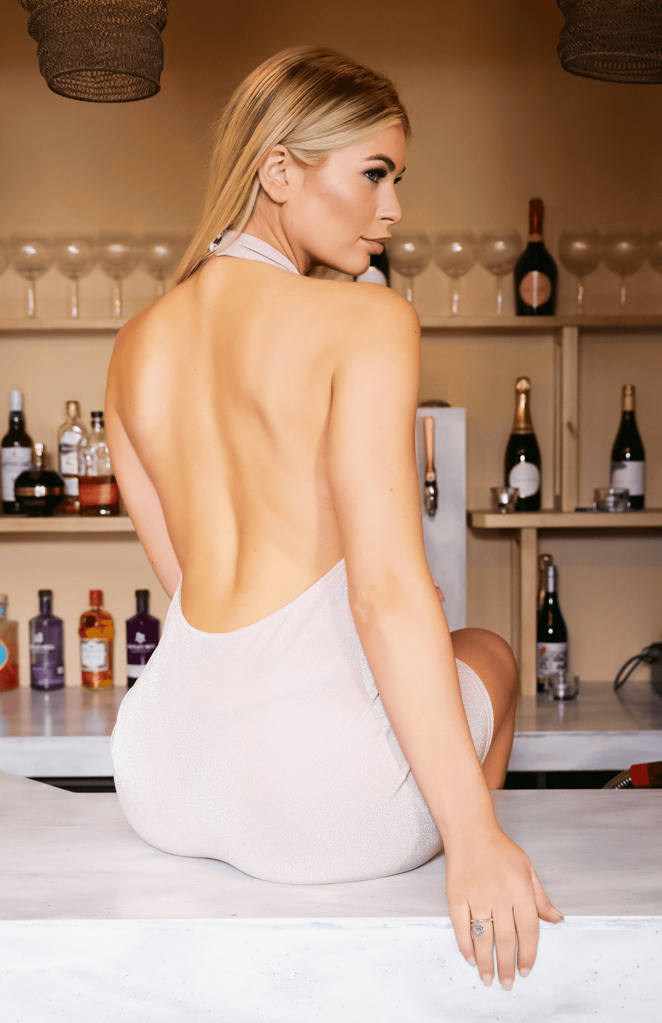 Pink Glitter Halter Open Back Bodycon Mini Dress
