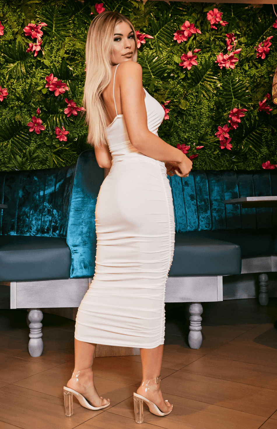 White One Shoulder Ruched Design Bodycon Midi Dress