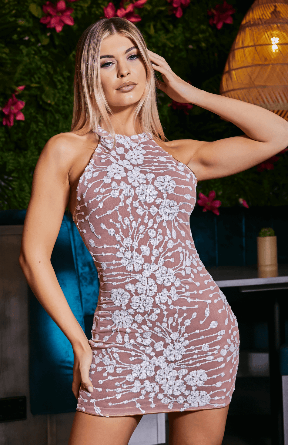 Nude Halter Sleeveless Embroidery Bodycon Dress