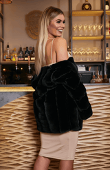Black Fluffy Faux Fur Jacket