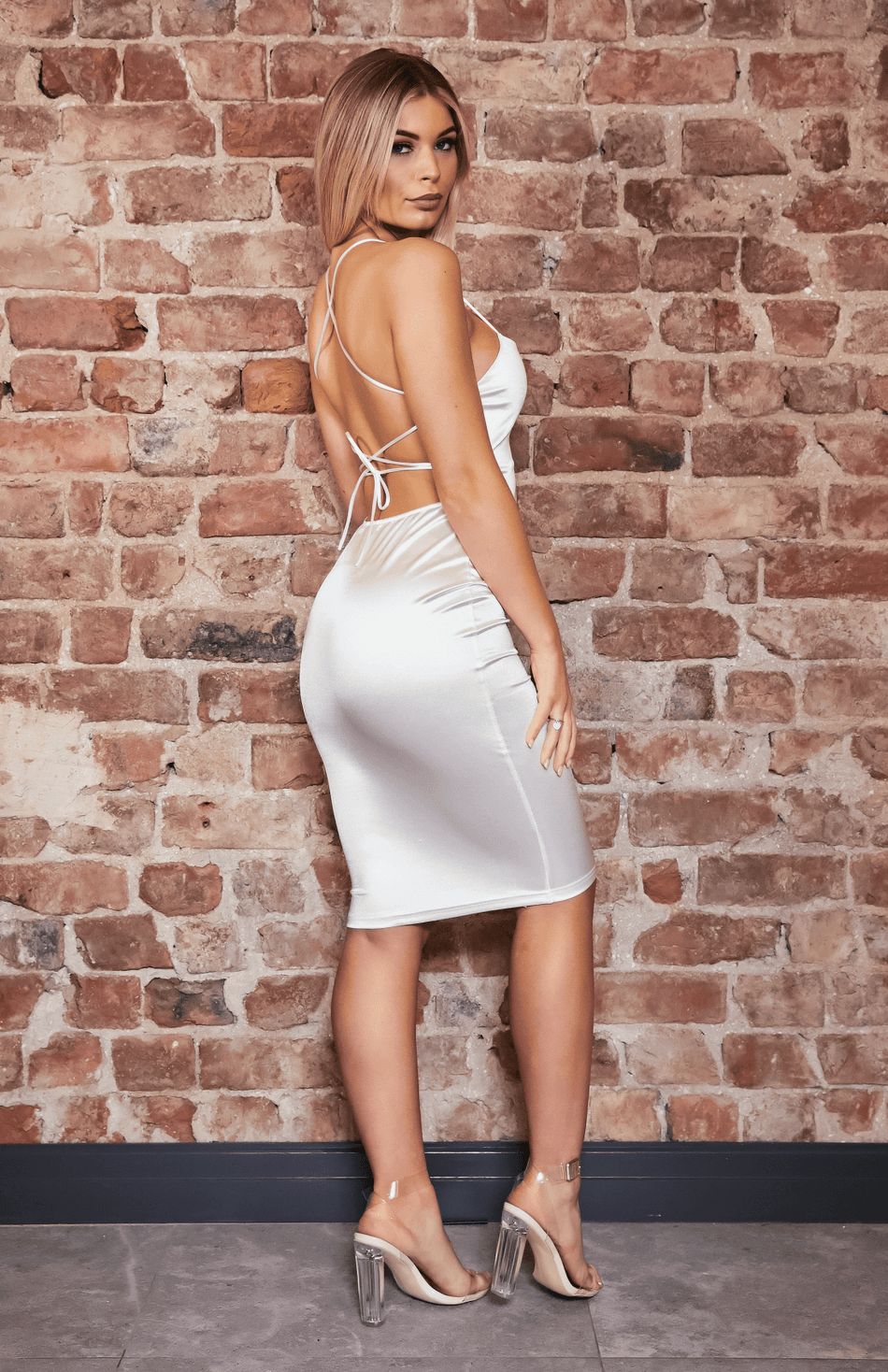 White Satin Square Neck Crisscross Strap Backless Midi Dress