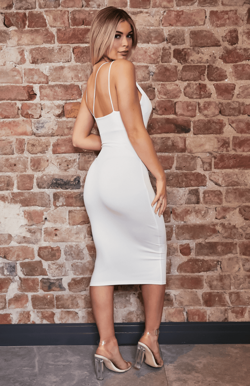 White Deep V Neck Criss Cross Slip Midi Dress