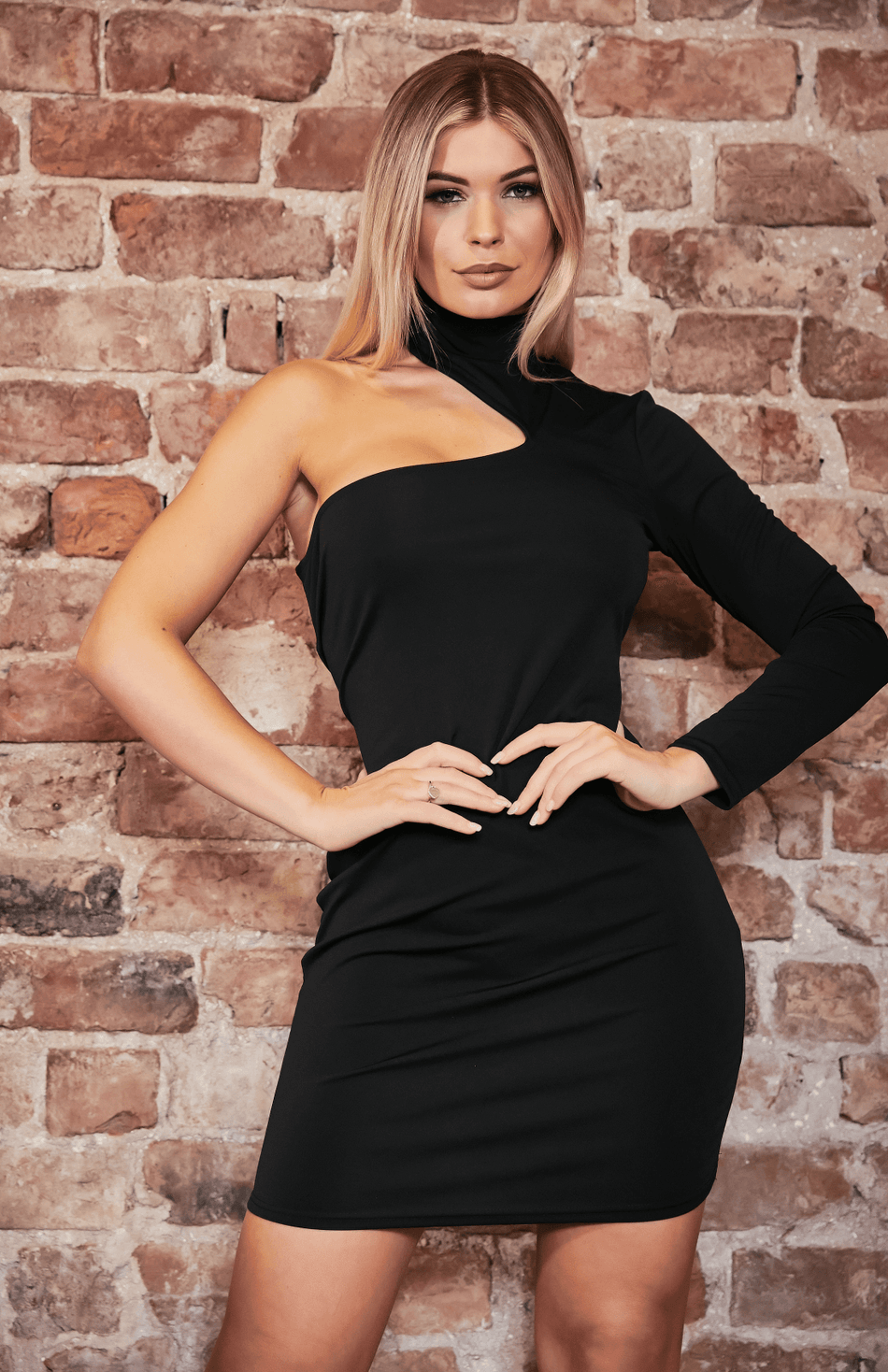 Black Cut Out Shoulder One Sleeve Bodycon Dress