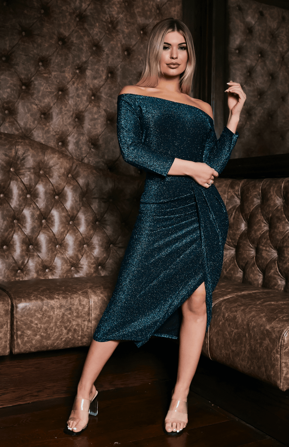 Green Glitter Ruched Thigh Slit Midi Dress