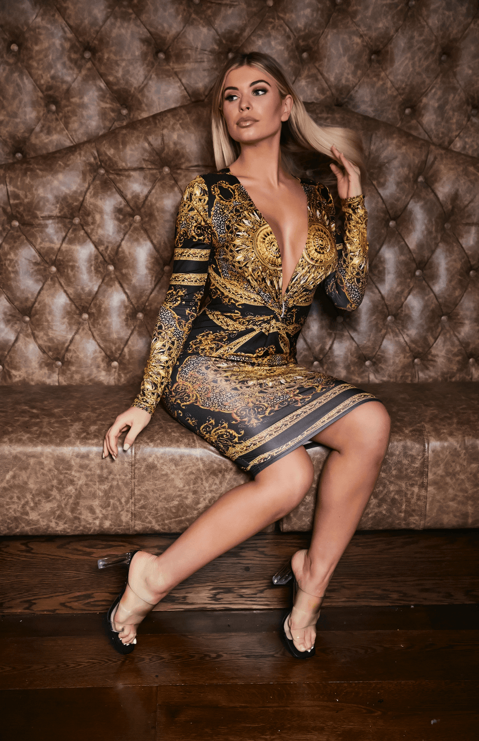 Black & Gold Retro Print Twist Front Long Sleeve Midi Dress