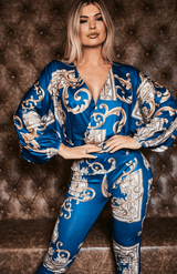 Blue Ethnic Print Lantern Sleeve Deep V Jumpsuit