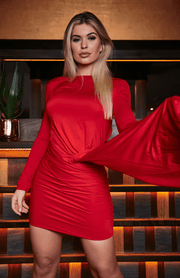 Red Open Back Scrunch Irregular Bodycon Dress