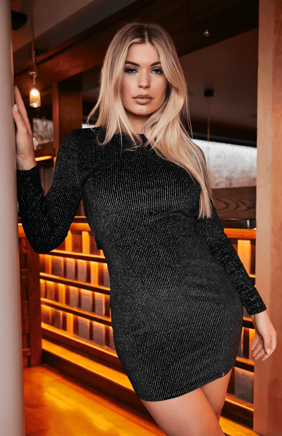 Black Glitter Stripes Long Sleeve Bodycon Party Dress