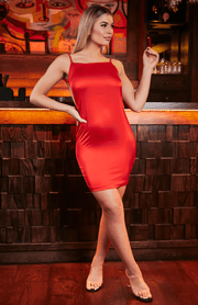 Red Low Cut Open Back Spaghetti Strap Bodycon Dress