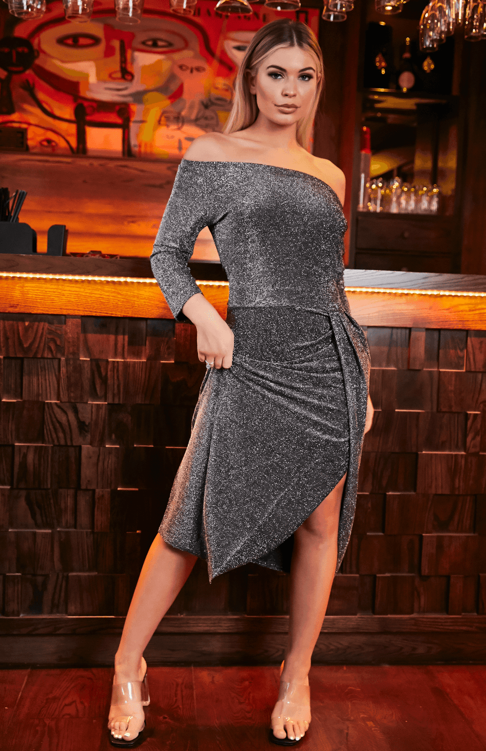 Grey Asymmetrical Off Shoulder Glitter Ruched Thigh Slit Party Dress