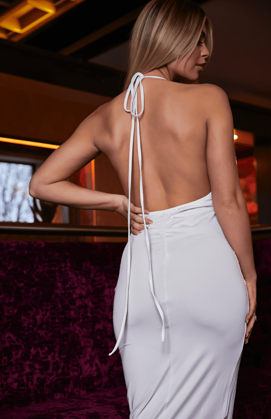 Deep V Halter Neck Slip White Midi Dress