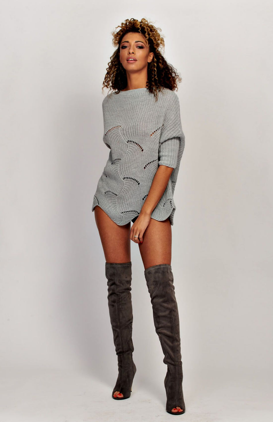 Scallop Hem Long Sleeve Jumper Dress