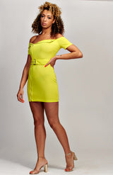 Neon Yellow Zip Front Self Belt Biker Bardot Dress